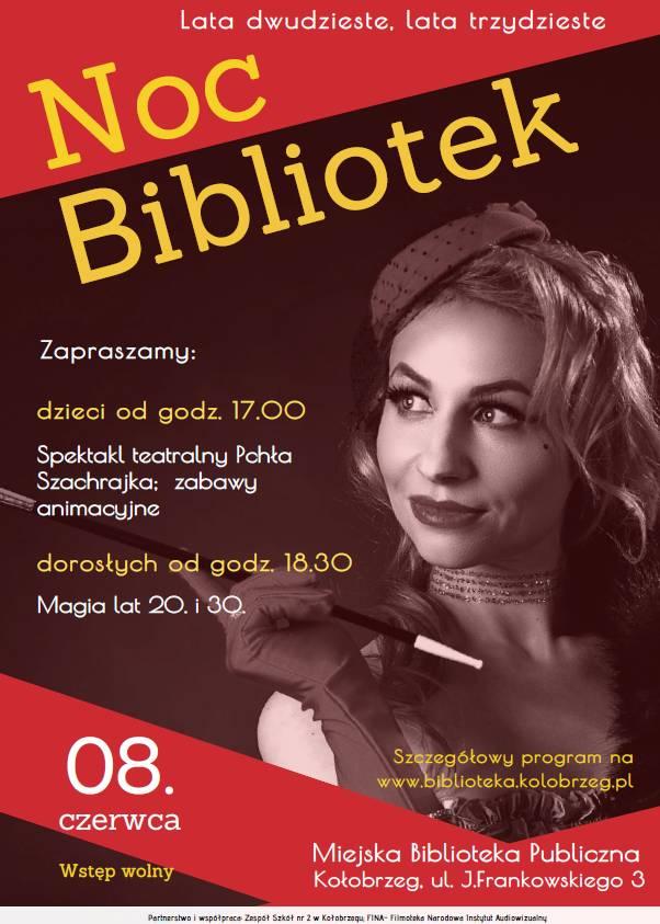 """nocbiblplakat2019 1 - W sobotę Noc Bibliotek """"Lata dwudzieste, lata trzydzieste"""". Wstęp wolny (program)"""