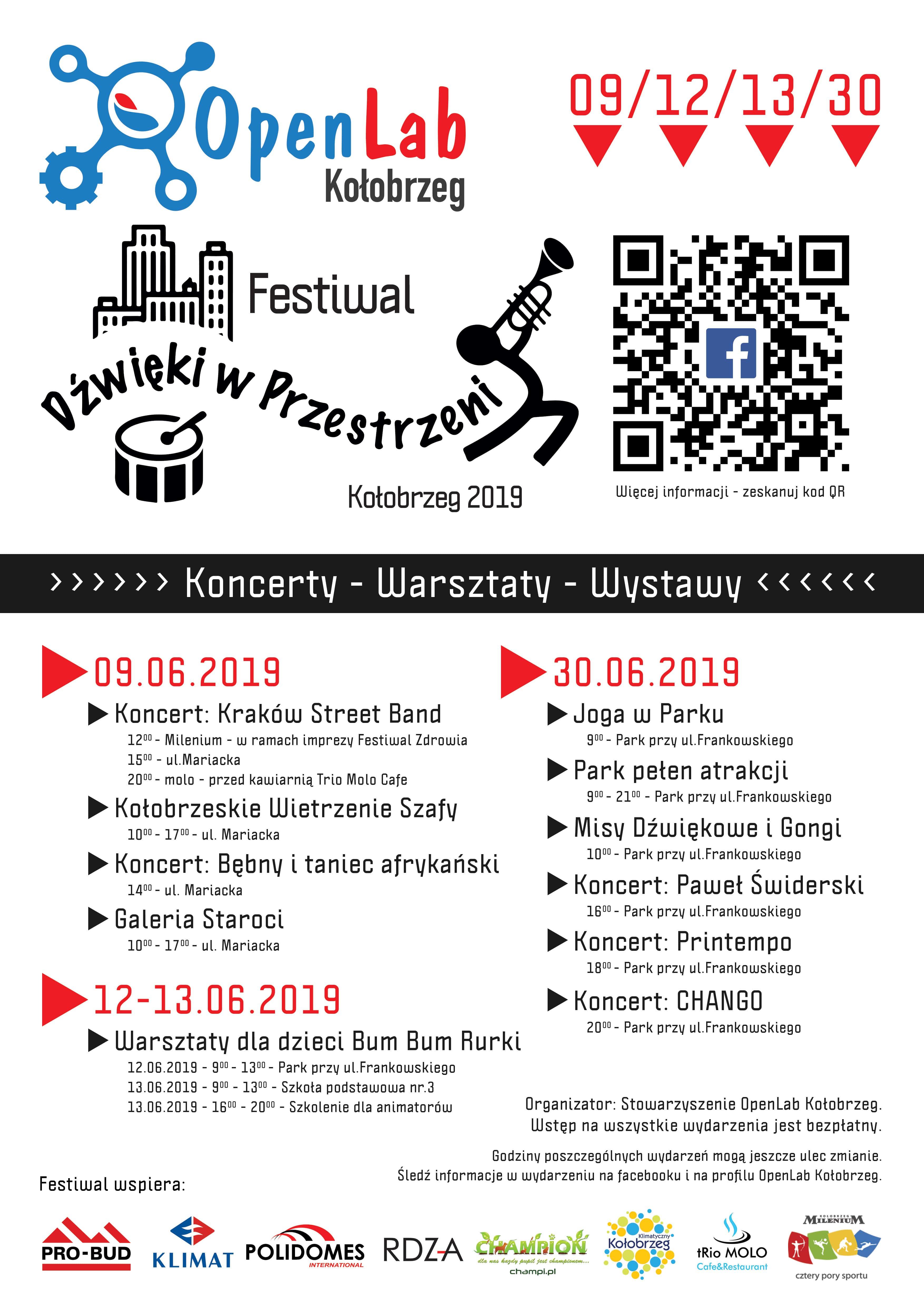 plakat min - Środa/czwartek, Festiwal Dźwięki w Przestrzeni/warsztaty dla dzieci Bum Bum Rurki, wstęp wolny