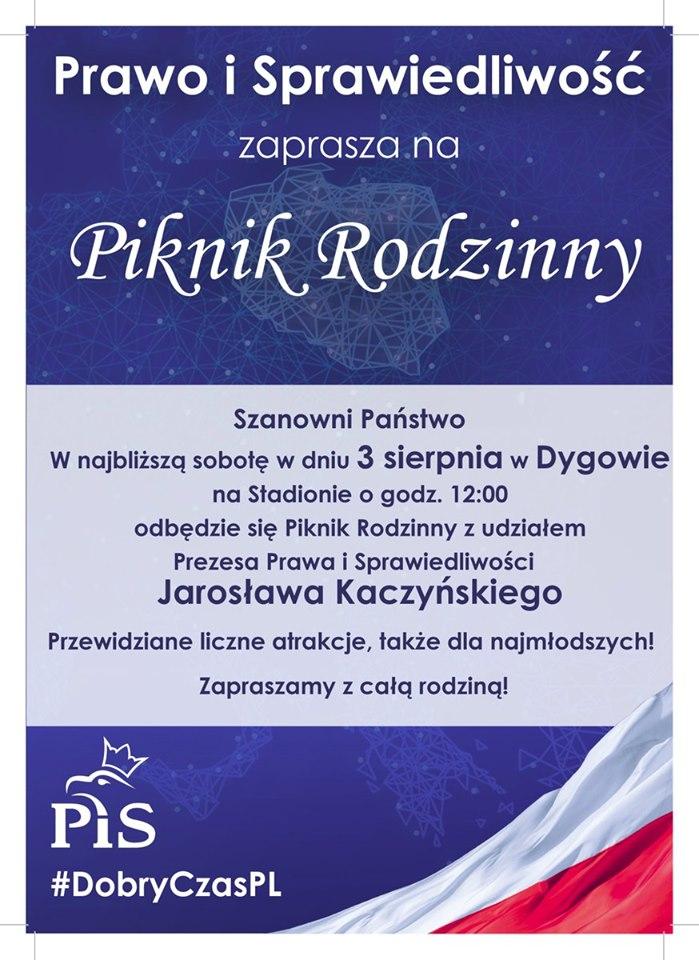 """piknik - Marek Młynarczyk wybiera się na piknik PiS z Jarosławem Kaczyńskim. Z transparentem """"Nie głosuj na Czesław Hoc"""""""