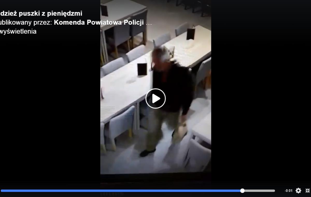 Policja szuka tego mężczyzny. Jest podejrzany o kradzież puszki z pieniędzmi (wideo)