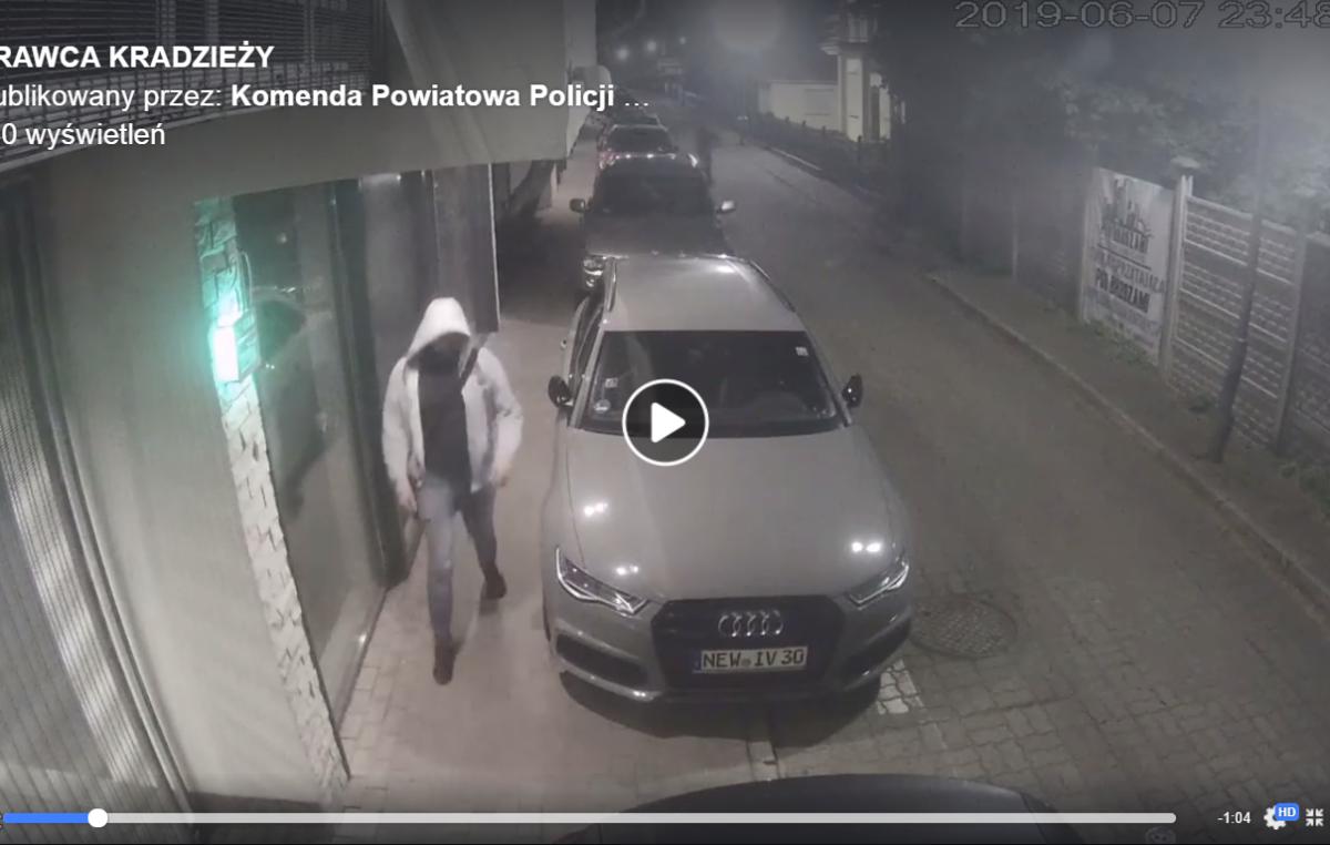 Seria kradzieży części samochodowych. Policja publikuje zapis monitoringu. Rozpoznajesz tego mężczyznę? (wideo)