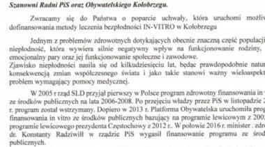 Lewica pisze do radnych PiS oraz Obywatelskiego Kołobrzegu i apeluje o poparcie uchwały in vitro