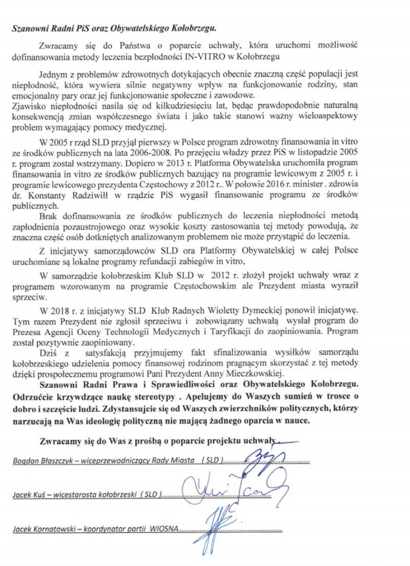 apel lewicy - Lewica pisze do radnych PiS oraz Obywatelskiego Kołobrzegu i apeluje o poparcie uchwały in vitro