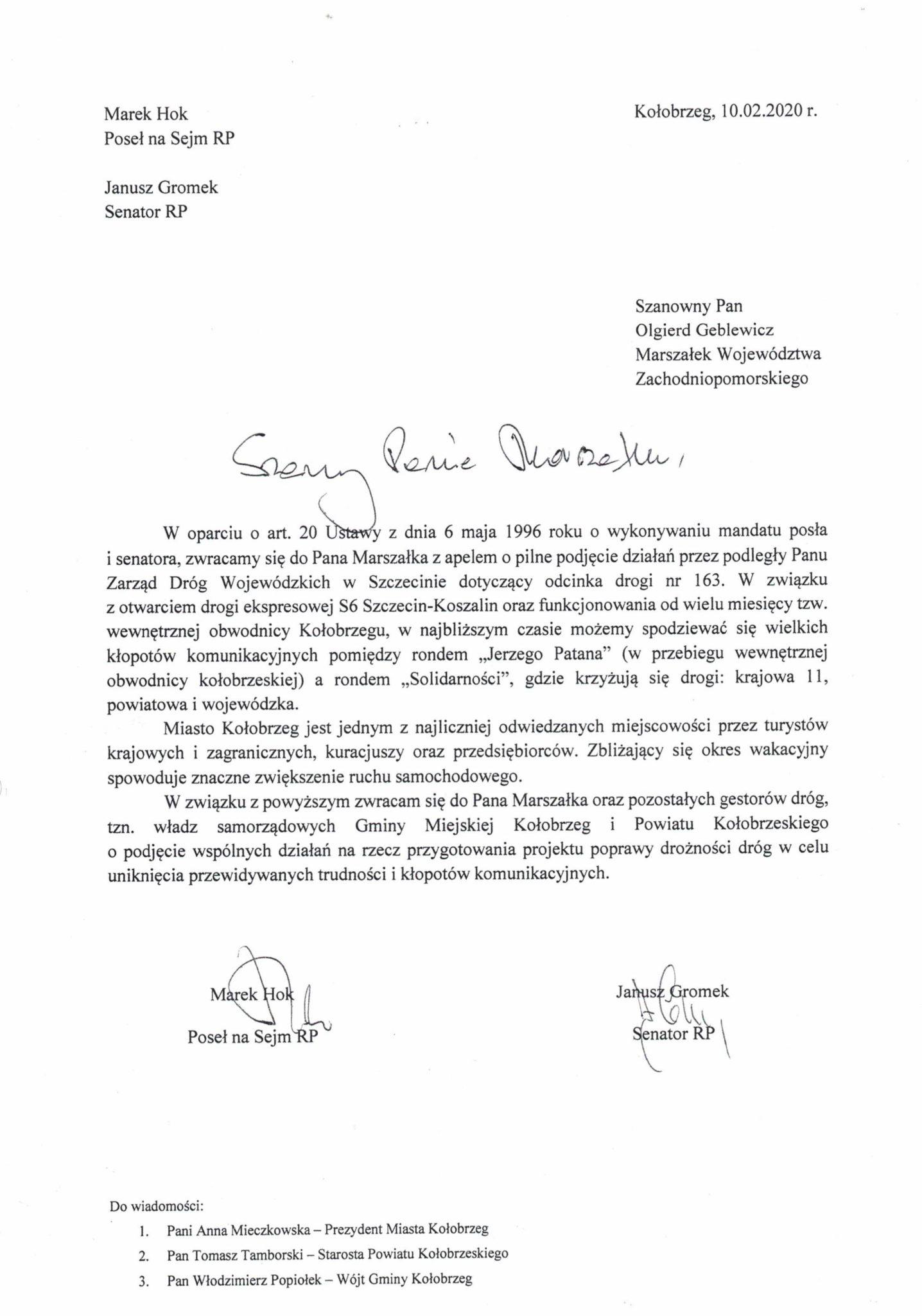 0001 - Kołobrzescy parlamentarzyści apelują do marszałka: Jeżeli nic nie zrobimy z odcinkiem drogi 163, czekają nas wielkie kłopoty komunikacyjne
