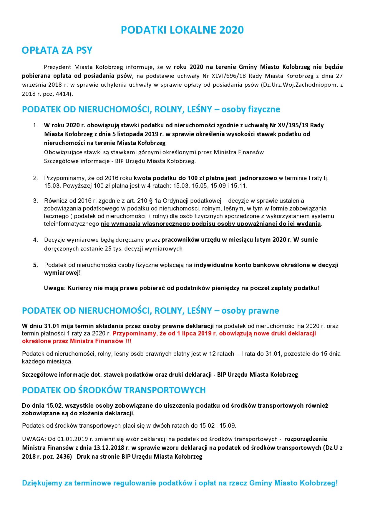 PODATKI LOKALNE 2020 informacja page0001 - Urzędnicy roznoszą po domach decyzje podatkowe