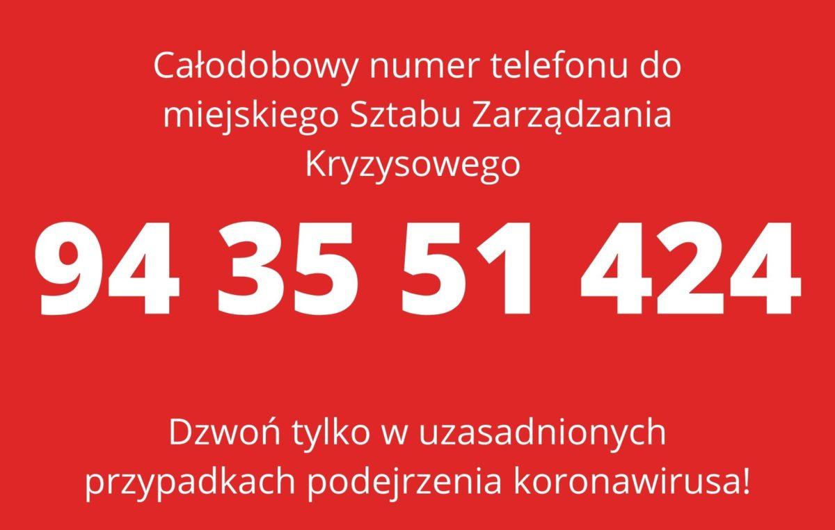 Całodobowy numer telefonu. Używajmy go TYLKO w uzasadnionych przypadkach zagrożenia koronawirusem!