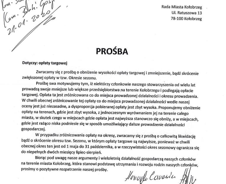 prosba e1585145708210 - Bulwar Szymańskiego bez stoisk artystycznych? Przedsiębiorcy apelują o obniżenie opłaty targowej