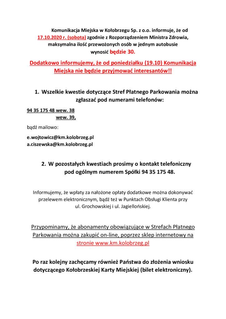 Informacja COVID 1 724x1024 - Od jutra w miejskich autobusach maksymalnie 30 pasażerów naraz (komunikat)