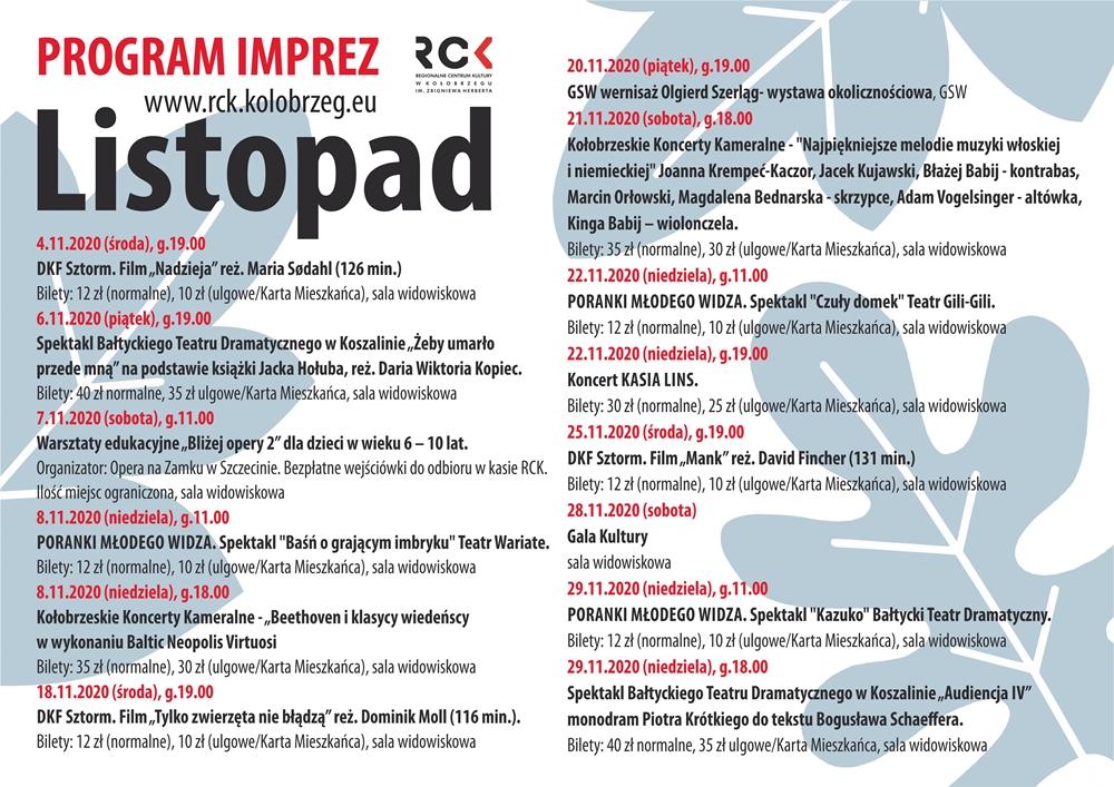 Listopad - Program wydarzeń w Regionalnym Centrum Kultury w listopadzie
