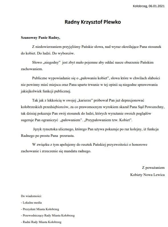 pismo lewicy - Kobiety Nowa Lewica apelują do radnego Plewki o rezygnację z mandatu