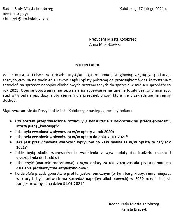 inter - Przedsiębiorcy z Kołobrzegu zostaną zwolnieni z opłaty koncesyjnej za sprzedaż alkoholu?