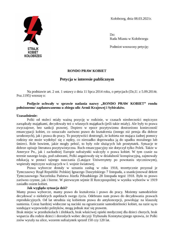 strajk 1 725x1024 - Rondo, które ma powstać w centrum Kołobrzegu, będzie nosić nazwę Praw Kobiet? Jest petycja w tej sprawie