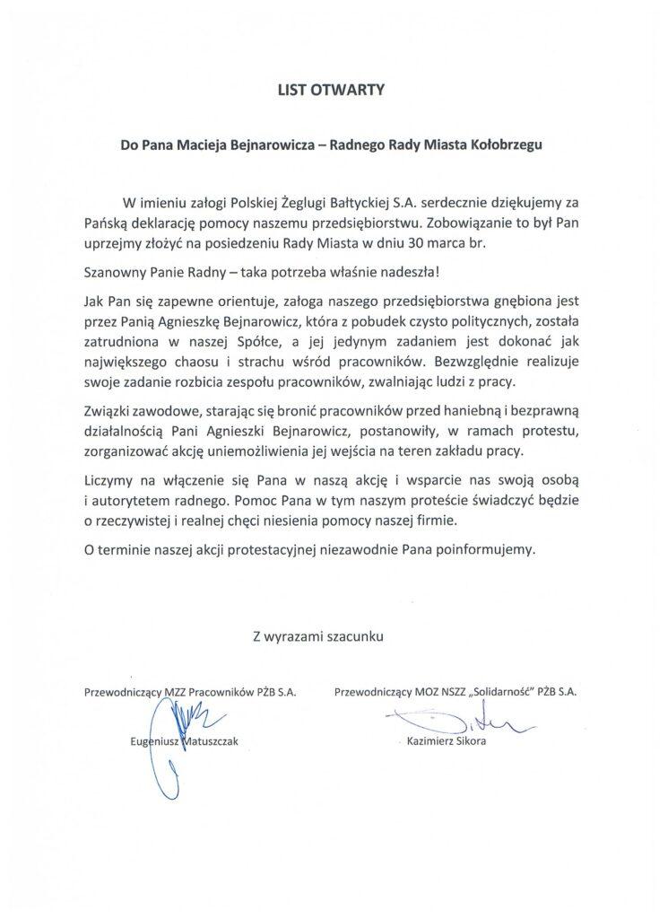 List otwarty 745x1024 - List otwarty związków zawodowych PŻB do radnego Bejnarowicza