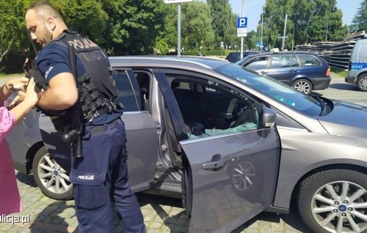 Pies dosłownie gotował się w zamkniętym samochodzie. Policjanci wybili szybę, by go uratować